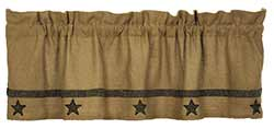 Market Street (formerly IHF - India Home Fashions) Natural Burlap Star Valance