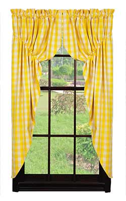 Market Street (formerly IHF - India Home Fashions) Picnic Yellow Check Prairie Curtain
