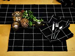 Burlap Check Black Table Runner (36 inch)