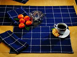 Burlap Check Indigo Table Runner (36 inch)