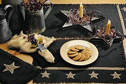 Black Star Burlap Table Runner (36 inch)