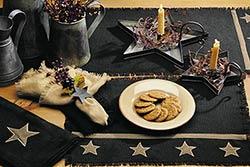 Black Star Burlap Table Runner (36 inch)