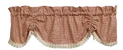 Olivia's Heartland (formerly IHF - India Home Fashions) Ava Wine Red Check & Lace Scalloped Valance