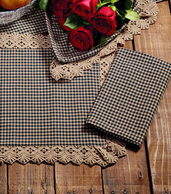 Market Street (formerly IHF - India Home Fashions) Ava Black Check Napkin