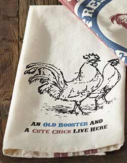 Old Rooster & Cute Chick Dishtowel