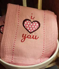 I Heart You Embroidered Dishtowel