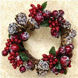 Winter Berry 2 inch Candle Ring