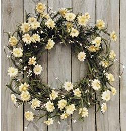 Tea Stain Daisy Wreath