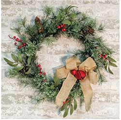 Brush Pine Wreath with Red Bells