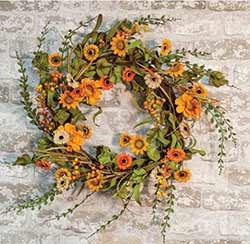 Harvest Daisy 22 inch Wreath
