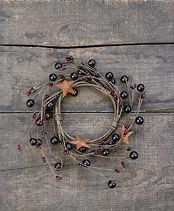 Burgundy Berry Candle Ring with Stars - 3.5 inch