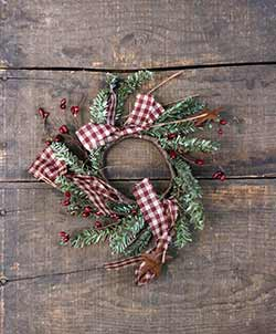 Homespun Holiday Pine & Pip Berry 2 inch Candle Ring