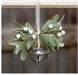 Sparkle Mistletoe Bell Ornament