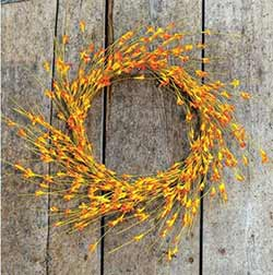 Wispy Orange Floral Bud Wreath