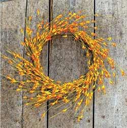 Wispy Orange Floral Bud Wreath