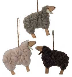Wood & Wool Sheep Ornament