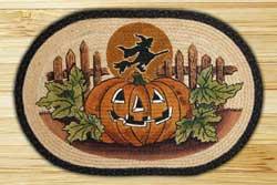 Jack O'Lantern Witch Oval Jute Rug
