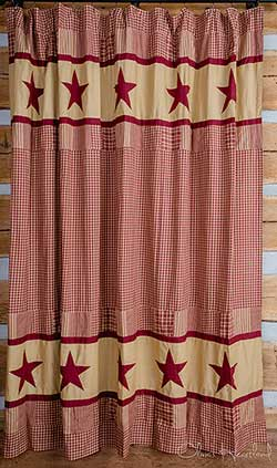 Market Street (formerly IHF - India Home Fashions) Jamestown Burgundy and Tan Shower Curtain
