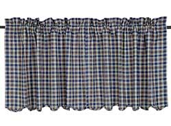 Jenson Blue Plaid Cafe Curtains - 24 inch Tiers