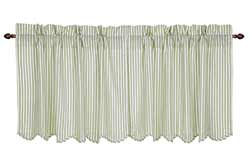Josephine Sage Ticking Stripe Cafe Curtains - 24 inch Tiers