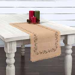 Jute Burlap Ivy 36 inch Table Runner