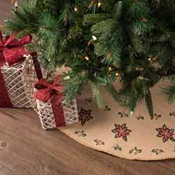 Jute Burlap Poinsettia 48 inch Tree Skirt