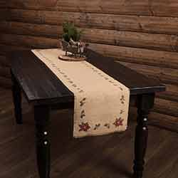 Jute Burlap Poinsettia 72 inch Table Runner