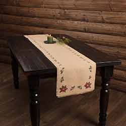 Jute Burlap Poinsettia 90 inch Table Runner