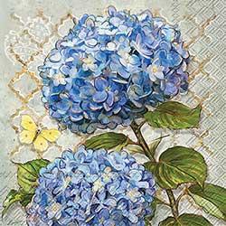 Blue Heirloom Flowers Paper Luncheon Napkins