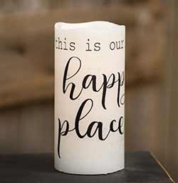 Our Happy Place Battery Pillar Candle