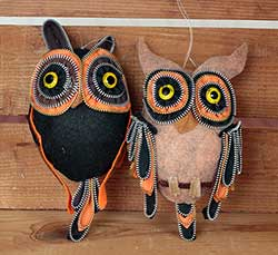 Zipper Owl Ornaments (Set of 2)