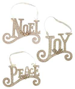 Gold Glittered Word Ornaments (Set of 3)