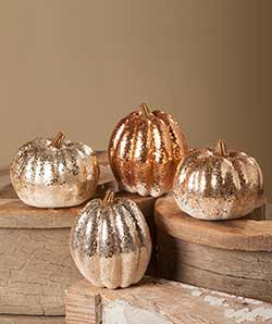 Elegant Fall Glittered Pumpkins (Set of 4)