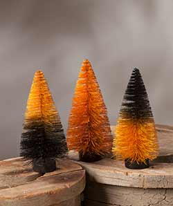 Magic Halloween Ombre Bottlebrush Trees (Set of 3)