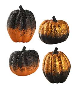 Black & Orange Glittered Pumpkins (Set of 4)