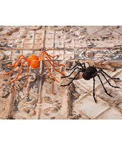 Black & Orange Beaded Spiders (Set of 2)