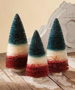 Patriotic Bottlebrush Trees (Set of 3)
