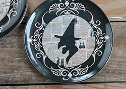 Halloween Silhouette Melamine Plate - Witch