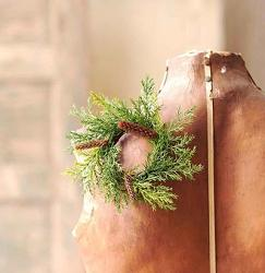 Prickly Pine 2 inch Candle Ring - Christmas Green