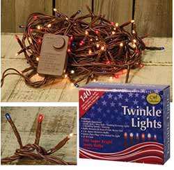 Patriotic Twinkle String Lights - 140 count