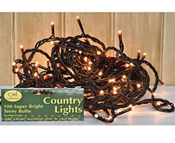 Teeny String Lights on Brown Cord - 100 count