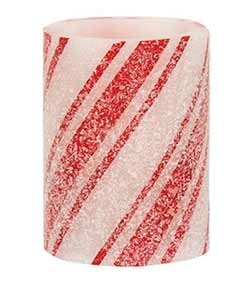 Candy Cane Battery 4 inch Pillar Candle with Timer