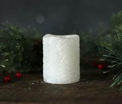 Frosty White Votive Candle with Timer - 2 x 2.25 inch