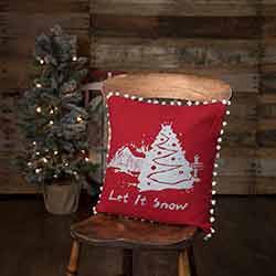 Let It Snow Red Burlap Pillow (16x16)