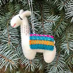 Llama Wool Ornament - Teal/Pink Blanket