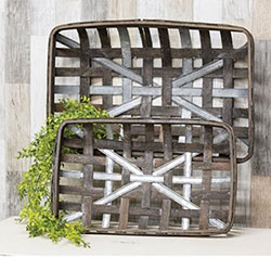 Gray Metal & Wood Tobacco Baskets (Set of 2)