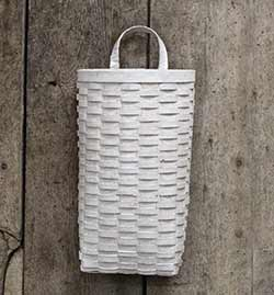 Distressed White Wall Basket