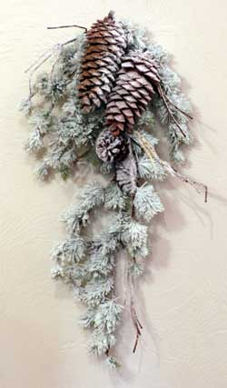 Frosted Pine with Pinecone Swag