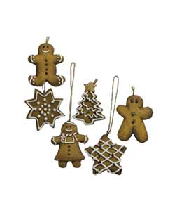 Mini Ginger Cookie Christmas Ornaments (Set of 6)