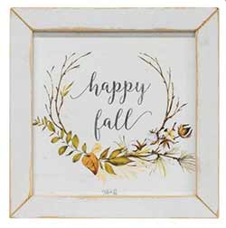 Happy Fall with Wreath Framed Art Print